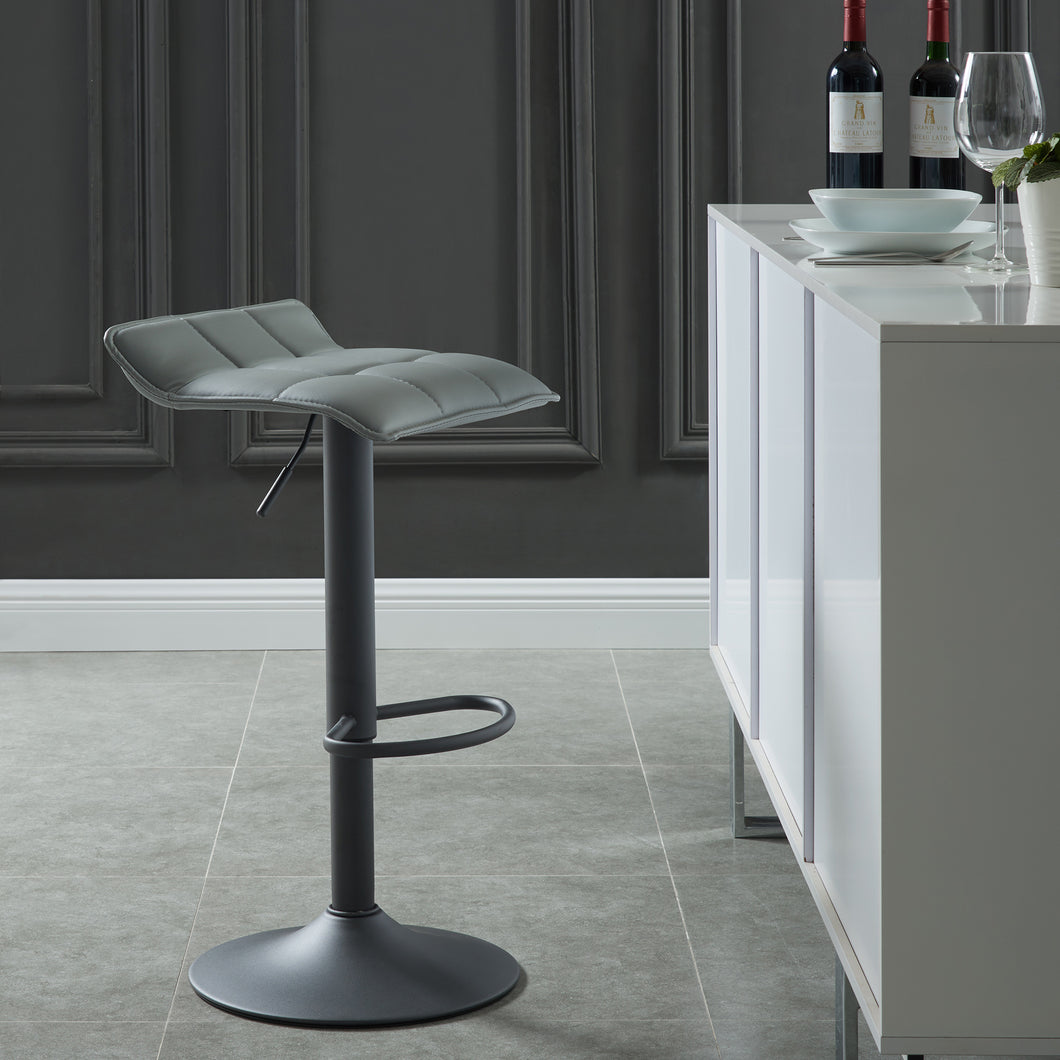 Comet Gas Lift Stool (Set of 2) - Grey Faux Leather/Metal (Set of 2)