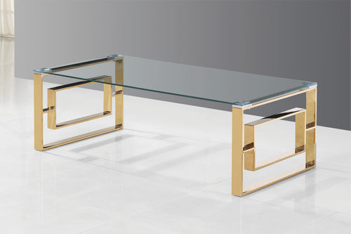 Aura Coffee Table - Glass/Gold