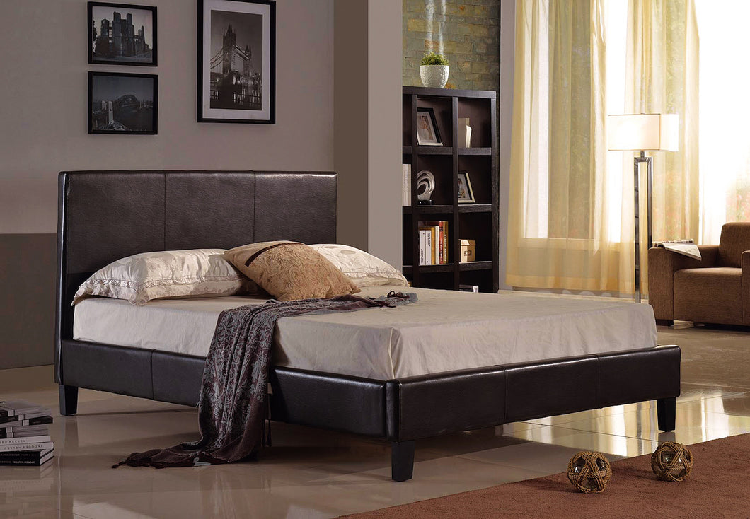 Alexis Platform Double/Full Bed - Black Faux Leather | Candace and Basil Furniture