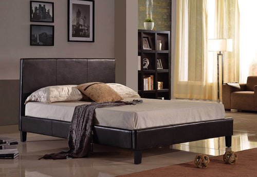 Alexis Platform Queen Bed - Black Faux Leather | Candace and Basil Furniture