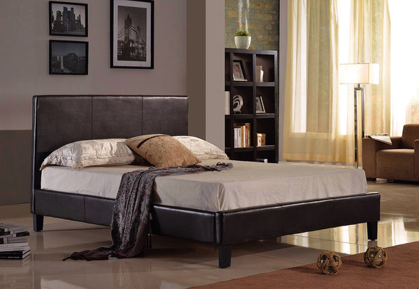 Candace & Basil Furniture |  Alexis Platform Queen Bed Frame - Black Faux Leather