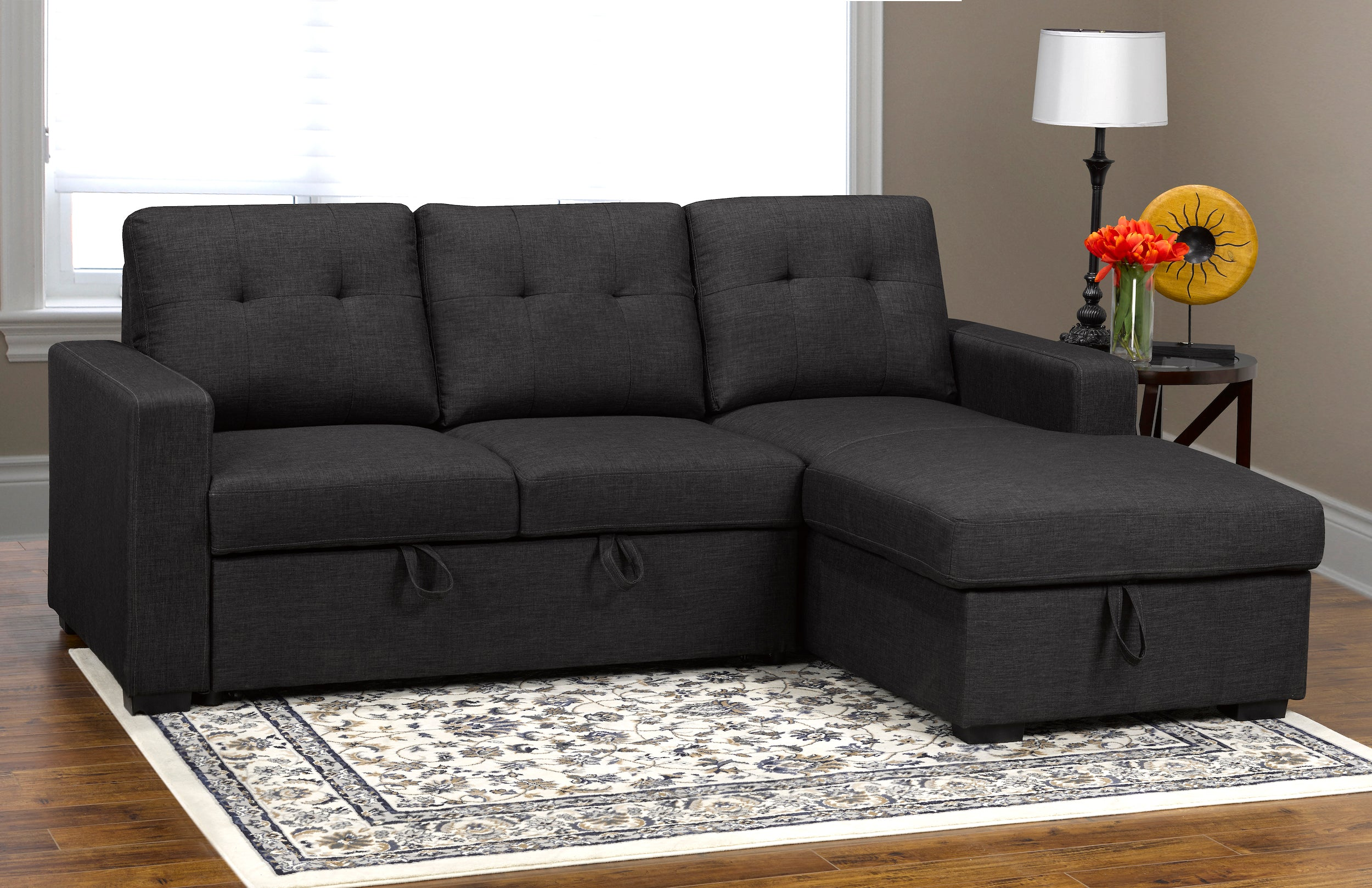 Anthony LHF/RHF Sectional w/ Pullout Bed & Storage - Dark Grey Linen | Candace and Basil Furniture