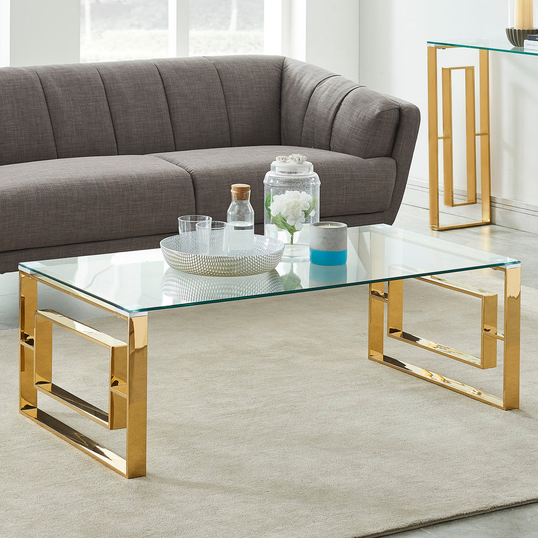 Eros Coffee Table - Gold Stainless Steel/Glass