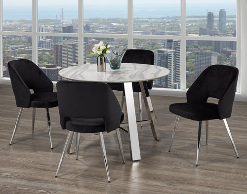 Madagascar 5PC Round Dining Set - Black | Candace and Basil Furniture