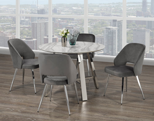 Madagascar 5PC Round Dining Set - Grey | Candace and Basil Furniture