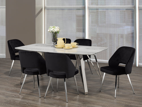 Madagascar 7PC Rectangular Dining Set - Black | Candace and Basil Furniture