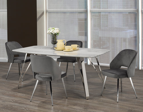 Madagascar 5PC Rectangular Dining Set - Grey | Candace and Basil Furniture