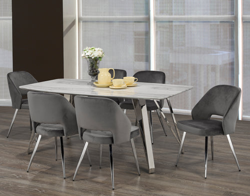 Madagascar 7PC Rectangular Dining Set - Grey | Candace and Basil Furniture