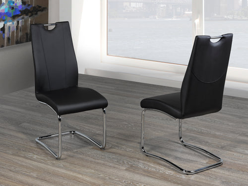 Jerome Dining Chair (Set of 2) - Black Leatherette | Candace and Basil Furniture