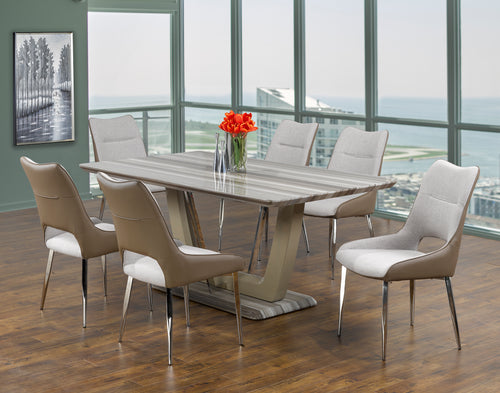 Leonardo 7PC Dining Set - Two-Tone | Candace and Basil Furniture
