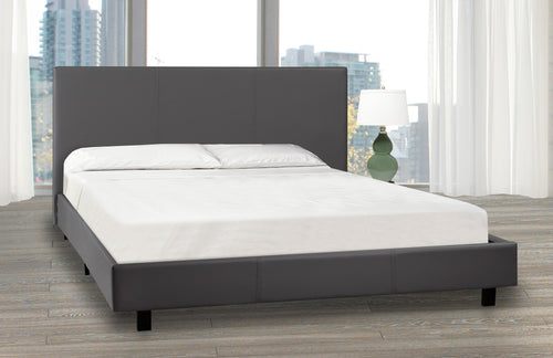 Troy Platform Bed - Grey Leatherette