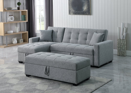 Jordan LHF/RHF Configurable Sleeper Sectional w/ Storage - Grey