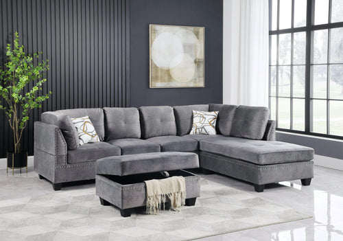 Elizabeth LHF/RHF Configurable Sectional - Grey Velvet