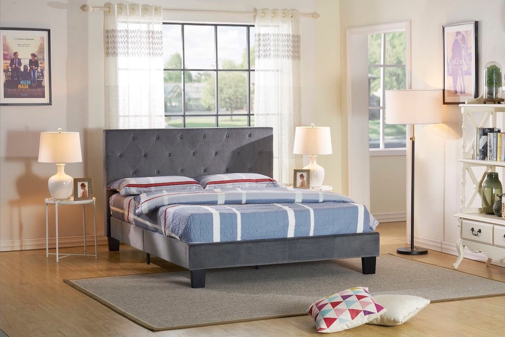 Aloe Platform Bed - Grey Velvet