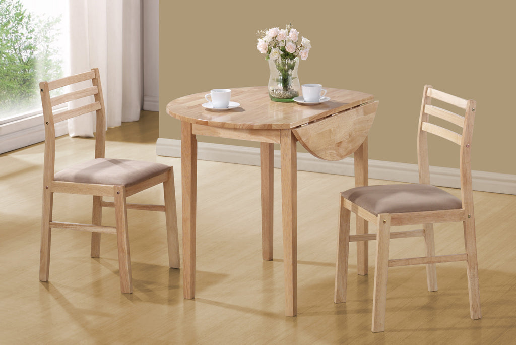 "Candace & Basil Dining Set - 3PC Set / Natural With A 36""Dia Drop Leaf"