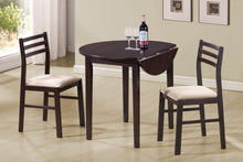 "Load image into Gallery viewer, Candace & Basil Dining Set - 3PC Set / 36""Dia / Cappuccino W/ Drop Leaf"