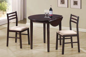 "Candace & Basil Dining Set - 3PC Set / 36""Dia / Cappuccino W/ Drop Leaf"