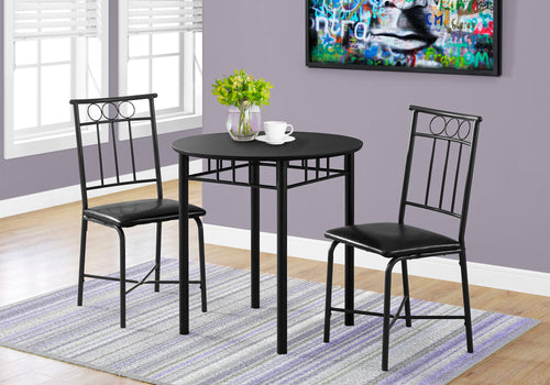 Candace & Basil Dining Set - 3pc Set / Black Metal And Top
