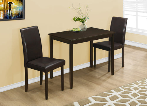 Candace & Basil Dining Set - 3PC Set / Cappuccino / Brown Parson Chairs
