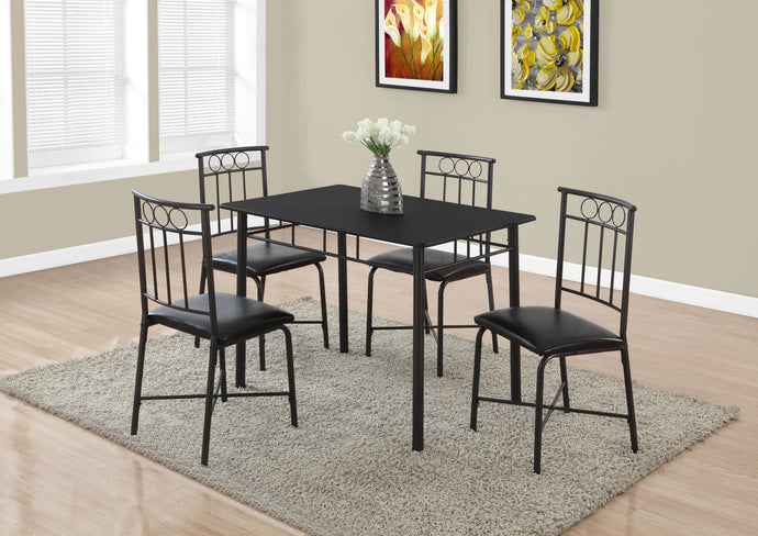 Candace & Basil Dining Set - 5PC Set / Black Metal And Top