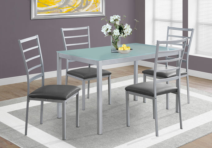 Candace & Basil Dining Set - 5pc Set / Silver / Frosted Tempered Glass