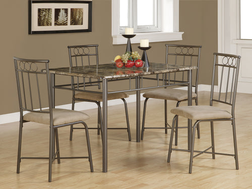 Candace & Basil Dining Set - 5PC Set / Cappuccino Marble / Bronze Metal