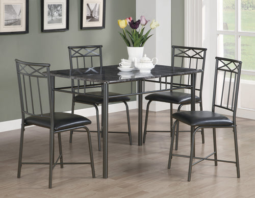 Candace & Basil Dining Set - 5PC Set / Grey Marble / Charcoal Metal