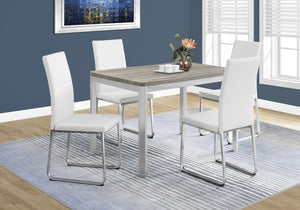 "Candace & Basil Dining Table - 32""X 48"" / Dark Taupe / Chrome Metal"