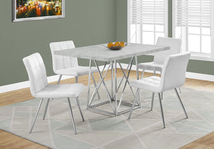 "Candace & Basil Dining Table - 36""X 48"" / Grey Cement / Chrome Metal"