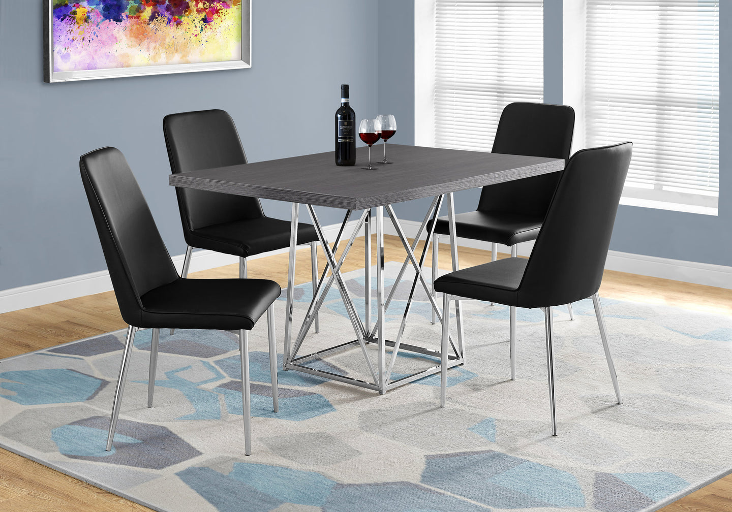 Candace Basil Furniture Dining Table 36 X 48 Grey Chrome