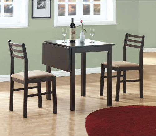 Candace & Basil Dining Set - 3PC Set / Cappuccino Solid-Top Drop Leaf