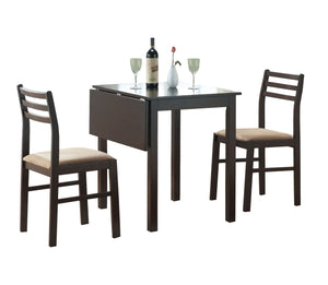Dining Set - 3PC Set / Cappuccino Solid-Top Drop Leaf