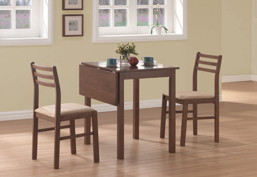 Candace & Basil Dining Set - 3PC Set / Walnut Solid-Top Drop Leaf