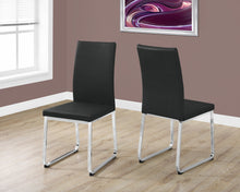"Load image into Gallery viewer, Candace & Basil Dining Chair - 2PC Set / 38""H / Black Leather-Look / Chrome"