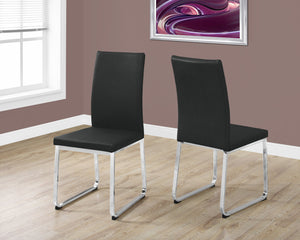 "Candace & Basil Dining Chair - 2PC Set / 38""H / Black Leather-Look / Chrome"