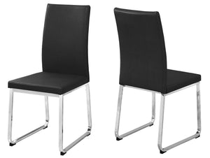 "Dining Chair - 2PC Set / 38""H / Black Leather-Look / Chrome"