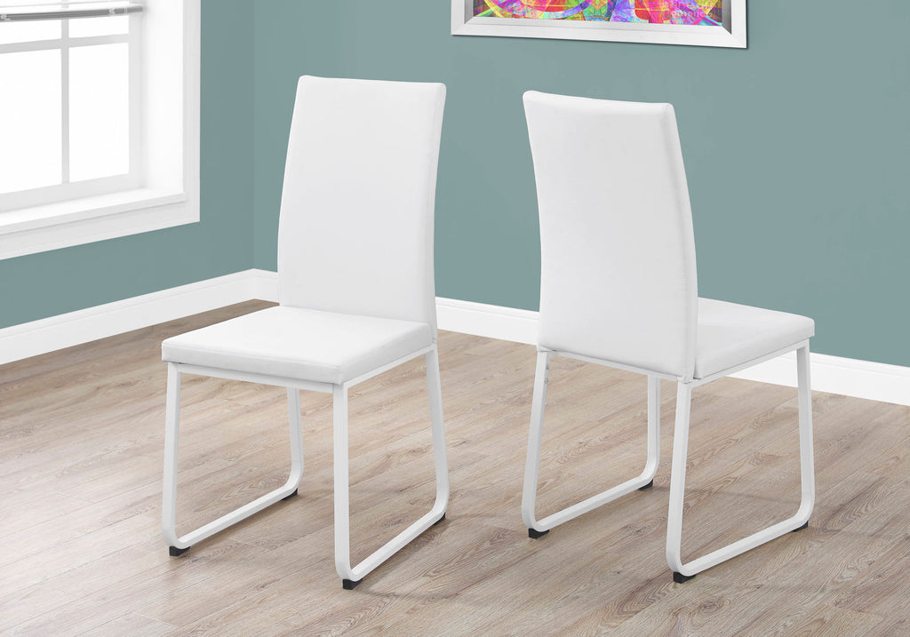 "Candace & Basil Dining Chair - 2pc / 38""H / White Leather-Look / White"