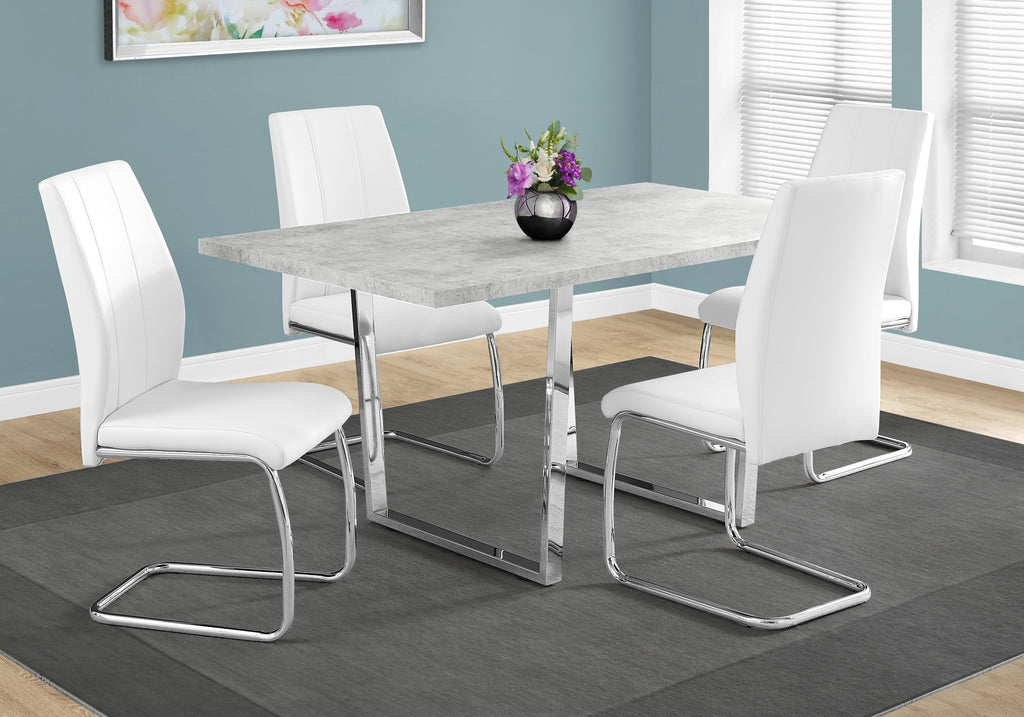 "Candace & Basil Dining Table - 36""X 60"" / Grey Cement / Chrome Metal"