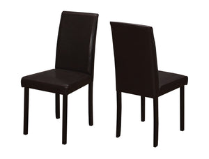 "Dining Chair - 2PC Set / 36""H Dark Brown Leather-Look"