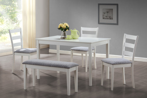 Candace & Basil Dining Set - 5PC Set / White Seat And 3 Side Chairs