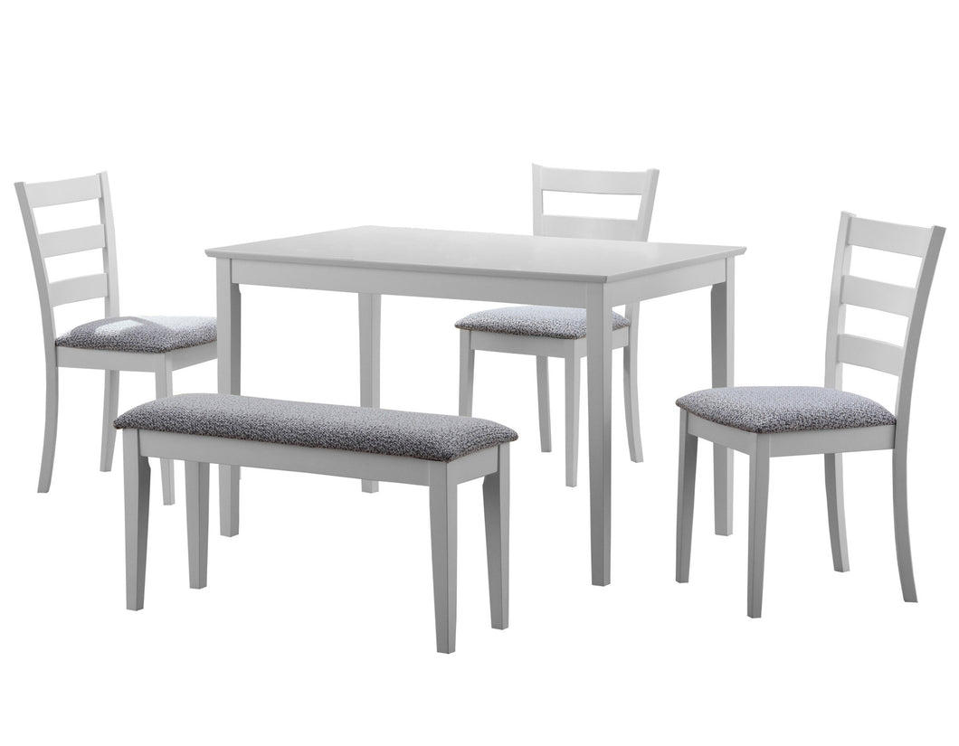 Dining Set - 5PC Set / White Seat And 3 Side Chairs