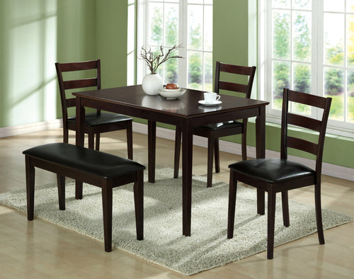 Candace & Basil Dining Set - 5PC Set / Cappuccino Seat & 3 Side Chairs