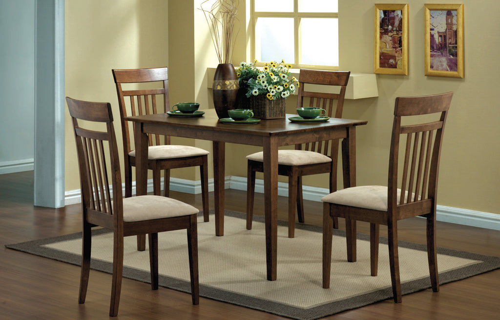 Candace & Basil Dining Set - 5PC Set / Walnut Finish