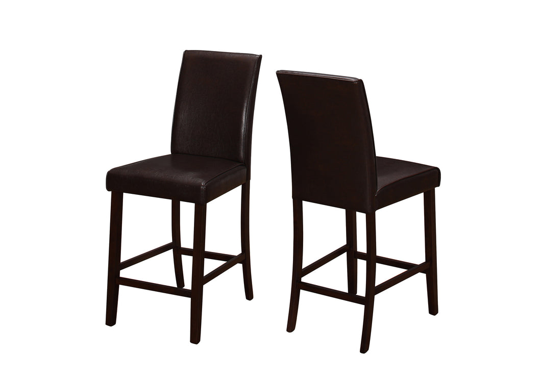 Counter Stools - 2PC Set / Brown Leather-Look Counter Height