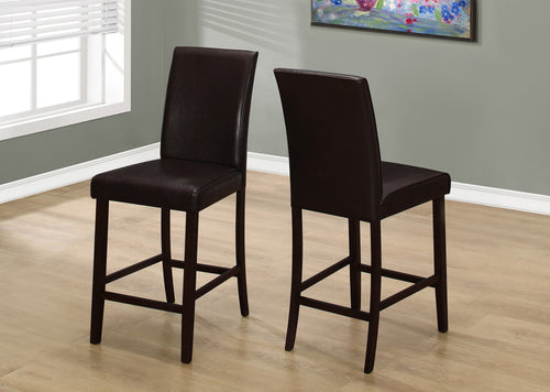 Candace & Basil Dining Chair - 2PC Set / Brown Leather-Look Counter Height