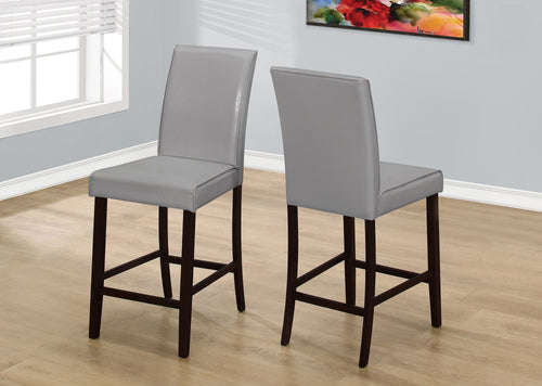 Candace & Basil Dining Chair - 2PC Set / Grey Leather-Look Counter Height
