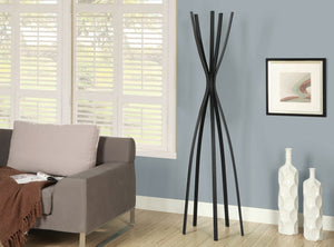 "Candace & Basil Coat Rack - 72""H / Satin Black Metal Contemporary Style"