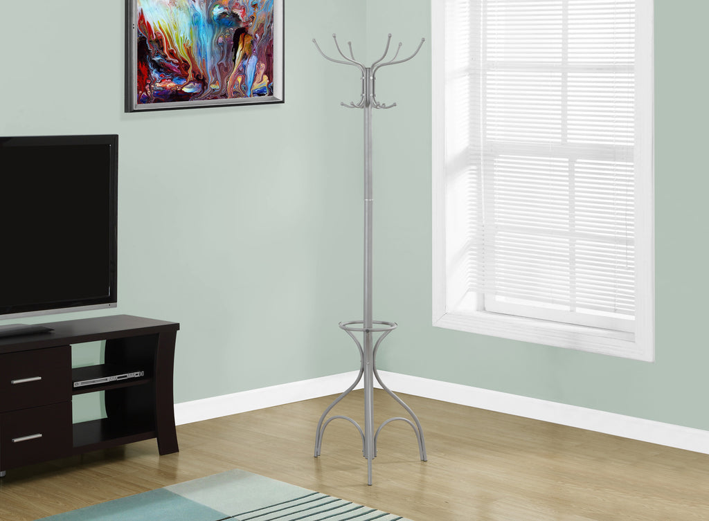 "Candace & Basil Coat Rack - 70""H / Silver Metal With An Umbrella Holder"