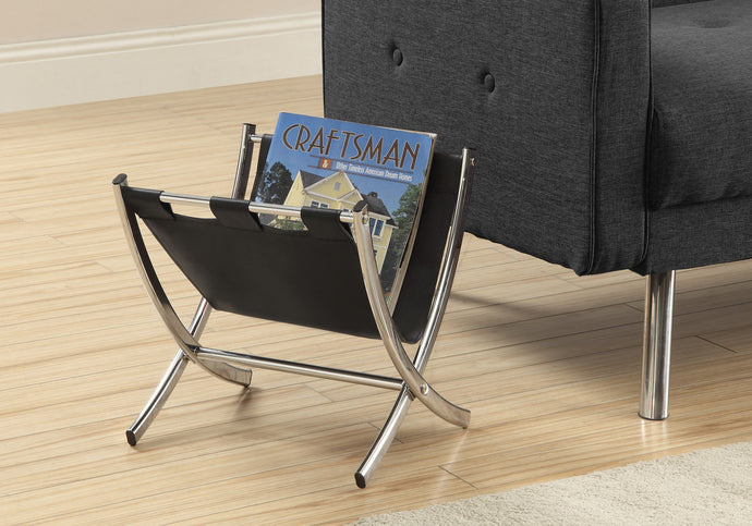 Candace & Basil Magazine Rack - Black Leather-Look / Chrome Metal