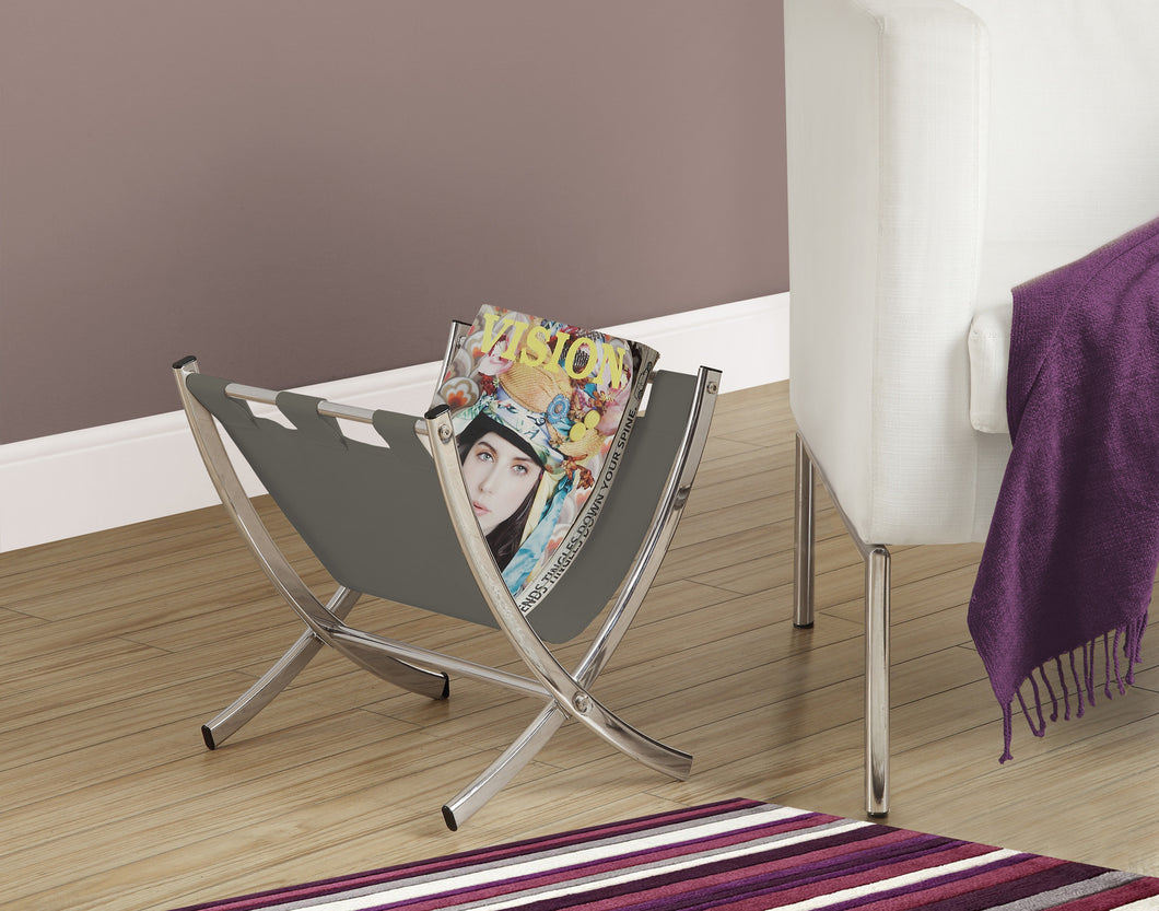 Candace & Basil Magazine Rack - Grey Leather-Look / Chrome Metal